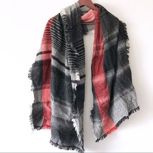Merona Black Red White Plaid Scarf